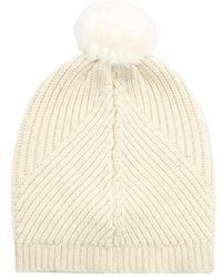Diane Von Furstenberg Fur Pompom Beanie Hat - Lyst