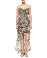 Camilla Printed Beaded Lace-up Caftan Coverup - Lyst