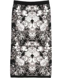Nicole Miller Ghost Flower Knit Skirt - Lyst