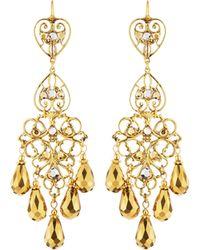 Jose & Maria Barrera | Two-tone Golden Chandelier Earrings | Lyst