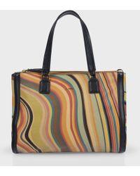 Paul Smith 'Swirl' Print Calf Leather Double Zip Tote Bag - Lyst