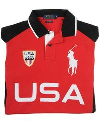 Ralph Lauren Blue Label Bicolor Polo Shirt With Embroidered Applications red - Lyst