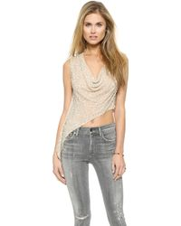 Haute Hippie Cropped Cowl Tank with Sequins - Buffsilver - Lyst