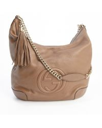 Gucci Brown Leather Gg Tassel Chain Shoulder Bag - Lyst