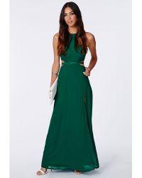 Missguided Anthea Cut Out Split Maxi Dress Emerald - Lyst