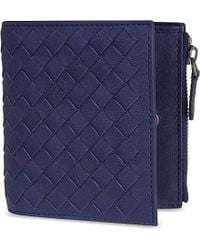 Bottega Veneta Intrecciato Leather Mini Wallet - For Men blue - Lyst