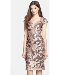 Tadashi Shoji Floral Sequin Cap Sleeve Sheath Dress - Lyst