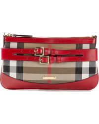 Burberry Buckle Detail Clutch - Lyst