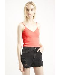 Topshop Petite Ribbed Cropped Cami pink - Lyst