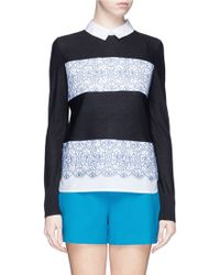 Tory Burch 'Edwina' Floral Lace Appliqué Front Wool Sweater - Lyst