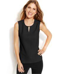 Calvin Klein Sleeveless Textured Keyhole Top - Lyst