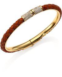 Michael Kors Skorpios Braided Leather Bangle Bracelet - Lyst