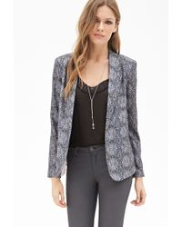 Forever 21 Abstract Print Draped Blazer - Lyst