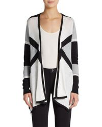 Ellen Tracy Printed Draped Cotton-blend Cardigan - Lyst
