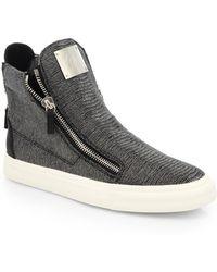 Giuseppe Zanotti Snakeskin-Embossed Leather High-Top Sneakers - Lyst
