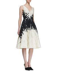 Lela Rose Textured Fullskirt Jacquard Dress - Lyst