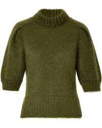 Alberta Ferretti Mohair Blend Cropped Sleeve Pullover - Lyst