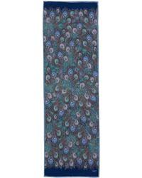 Liberty - Navy Hera Print Silk Scarf - Lyst