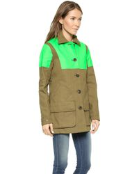 Hunter Womens Original Hunting Coat - Khaki Greenneon Green - Lyst