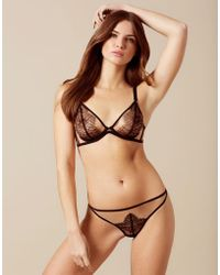 Agent Provocateur - Fantazia Thong Nude And Black - Lyst