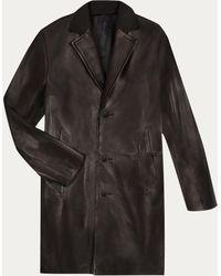 agnès b. - Black Brest Coat In Soft Leather - Lyst