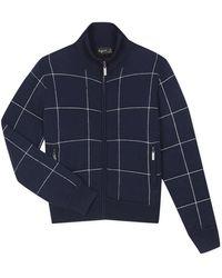 agnès b. - Navy Blue Checked Knit Long Sleeves Jacket - Lyst