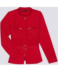 agnès b. - Red Cotton Satin Working Jacket - Lyst