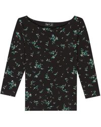 agnès b. - Black Floral Print Leopard Top - Lyst