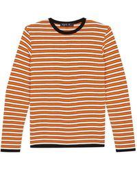 agnès b. - Orange Striped Jersey Jumper - Lyst