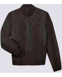 agnès b. - Brown Leather Bernie Bomber Jacket - Lyst