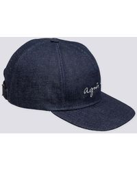 "agnès b. - ""agnès B."" Embroidered Denim Cap - Lyst"