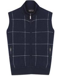 agnès b. - Navy Blue Checked Knit Sleeveless Jacket - Lyst