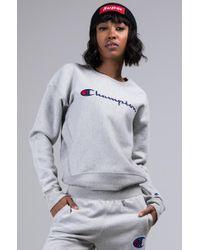Champion - Womens Reverse Weave Crew Sweatshirt With Chainstitch Logo - Lyst