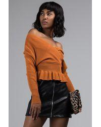 AKIRA - Turn Back Time Ribbed Knit Peplum Sweater - Lyst
