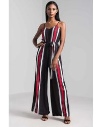 AKIRA - She Succeeded Striped Jumpsuit - Lyst