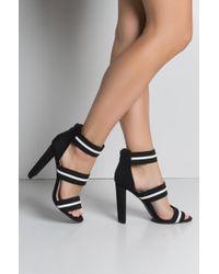 AKIRA - Rave About It Stripe Strap Sandals - Lyst