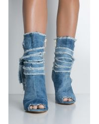 AKIRA - Wrap It Up Denim Booties - Lyst