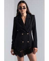 AKIRA - Take It Offline Fringe Blazer Mini Dress - Lyst