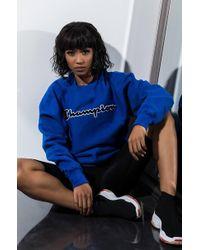 Champion - Unisex Reverse Weave Crew Sweatshirt With Chenille Script Logo - Lyst