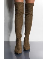 aad081c5d1a AKIRA Right Next To Me Thigh High Combat Boots in Black - Lyst