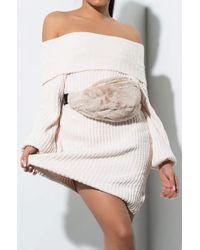 b438e98638eae3 AKIRA Hand Puff Furry Fanny Pack in Natural - Lyst