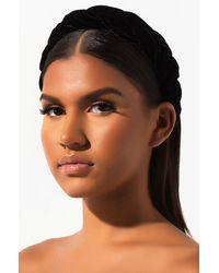 AKIRA In Love Velvet Braided Headband - Black