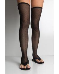 AKIRA - California Sun Fishnet Thigh High Flat Sandals - Lyst