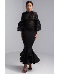 AKIRA - Linear Appeal Scuba Midi Dress - Lyst