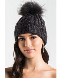 Akira | See Ya Raccoon Fur Metallic Knit Beanie | Lyst
