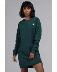 38fb62798be Champion Oversized Sweat Dress With Script Logo in Gray - Lyst