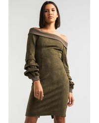 AKIRA - Ammo Endlessly Yours Off Shoulder Ribbed Dress - Lyst