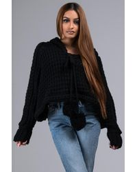AKIRA - Loves Me Loves Me Knit Cropped Hoodie - Lyst