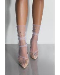 324e36694ea AKIRA - La Sheer Pearl Ankle Sock - Lyst