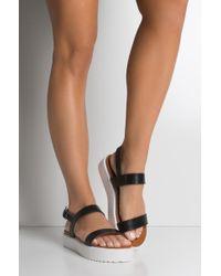 AKIRA - Sweet Things Two Strap Flatform Sandals - Lyst